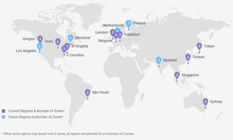 above google gcp regions