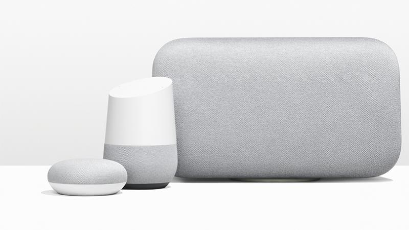 Google Home Max and Mini shown next to the original Google Home