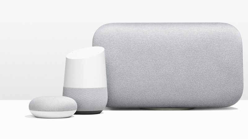 Google Home Max and Mini shown next to the original Google Home