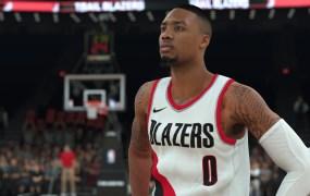 The well-inked Damian Lillard in NBA2K.