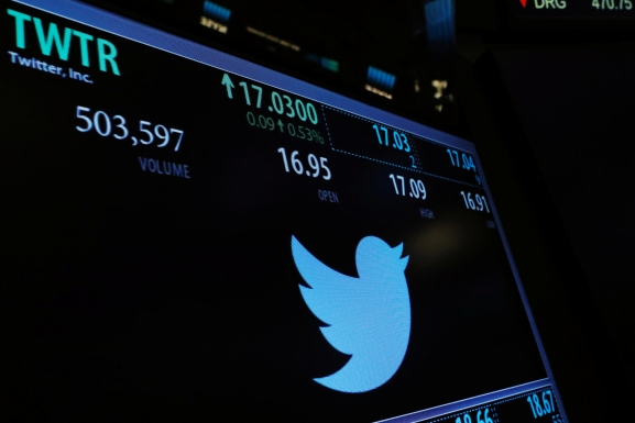 A screen displays the stock price of Twitter above the floor of the New York Stock Exchange (NYSE) shortly after the opening bell in New York, U.S., January 31, 2017.