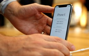 Apple's new iPhone X is displayed after it goes on sale at the Apple Store in Regents Street, London, Britain, November 3, 2017.