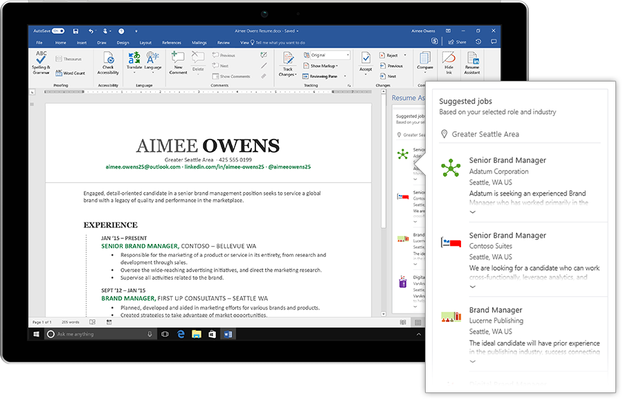 Microsoft Word adds LinkedInpowered Resume Assistant to Office 365