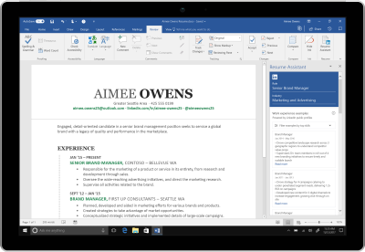 microsoft word adds linkedin powered resume assistant to office 365 - Resume Microsoft Word