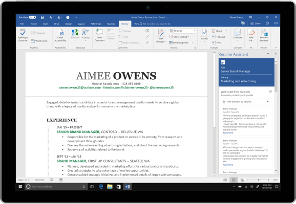microsoft word adds linkedin powered resume assistant to office 365