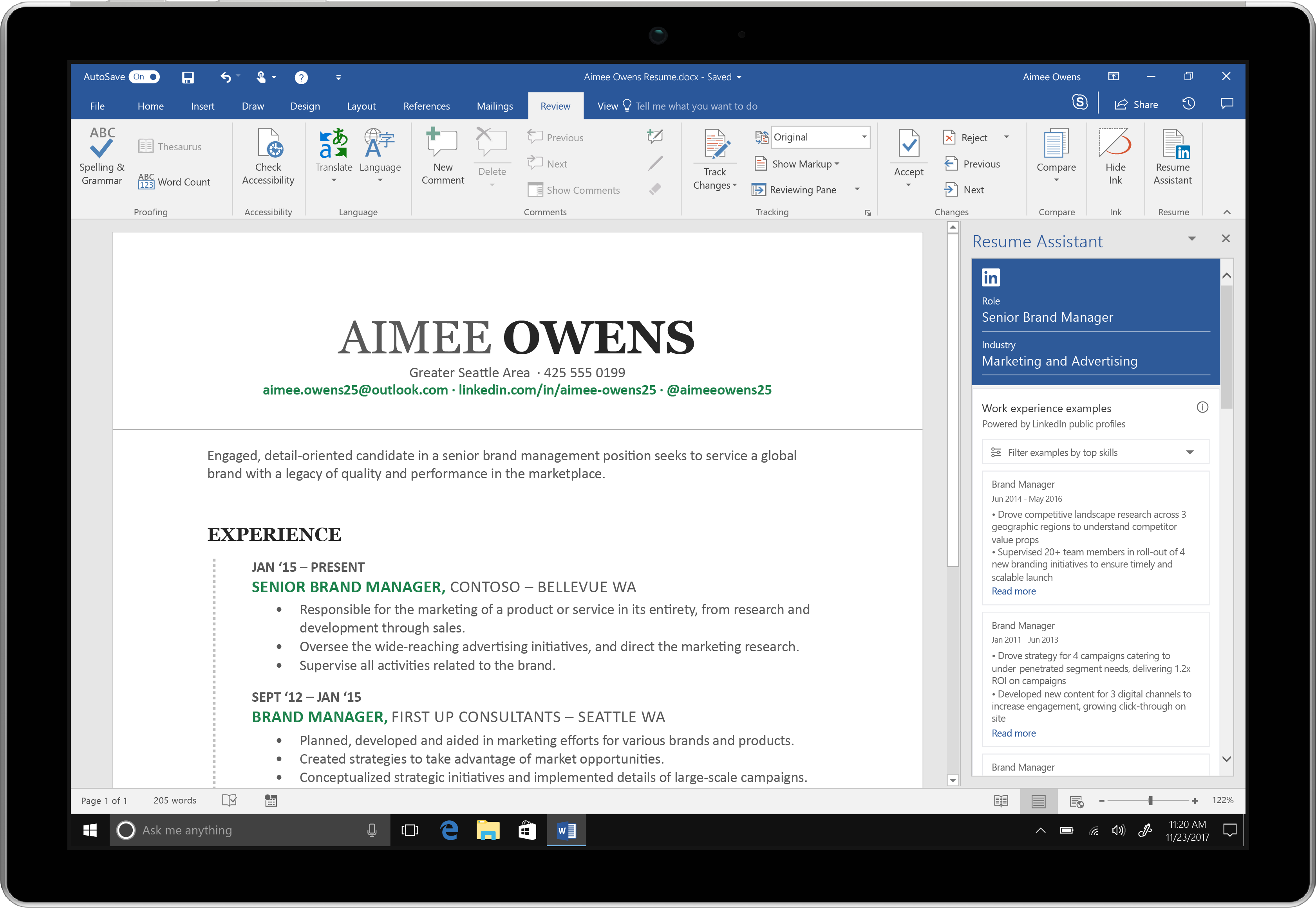 Microsoft Word Adds LinkedIn Powered Resume Assistant To Office 365  Microsoft Word Resumes