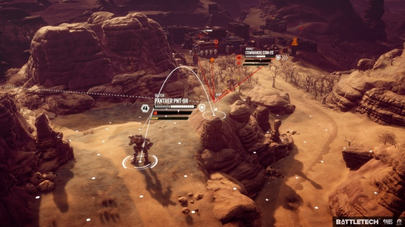 Battletech's tactical combat. A mech can jump to higher ground, but the red lines indicate whose line of fire it'll be in if it does.