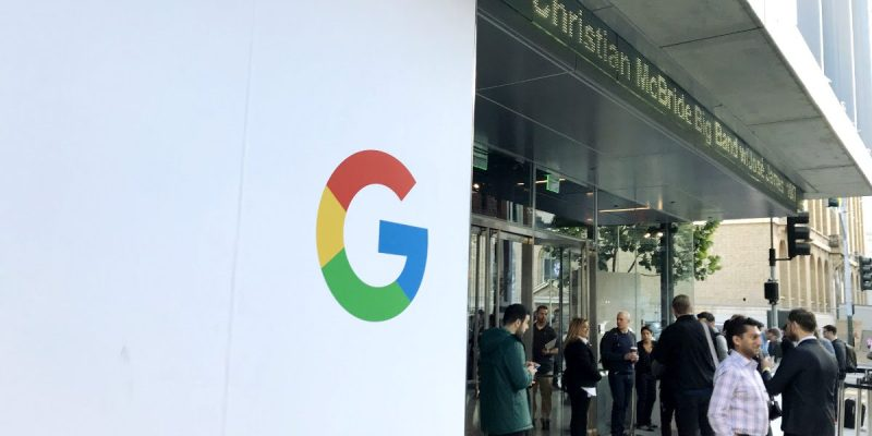 Google logo on display at the Made by Google event held in October 2017 in San Francisco.