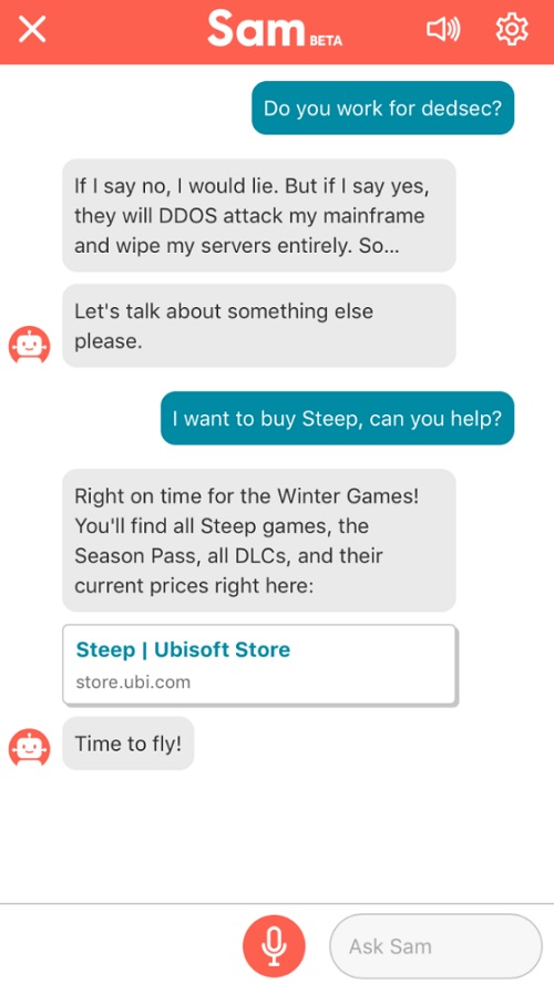 Ubisoft launches Sam the chat bot to answer your game