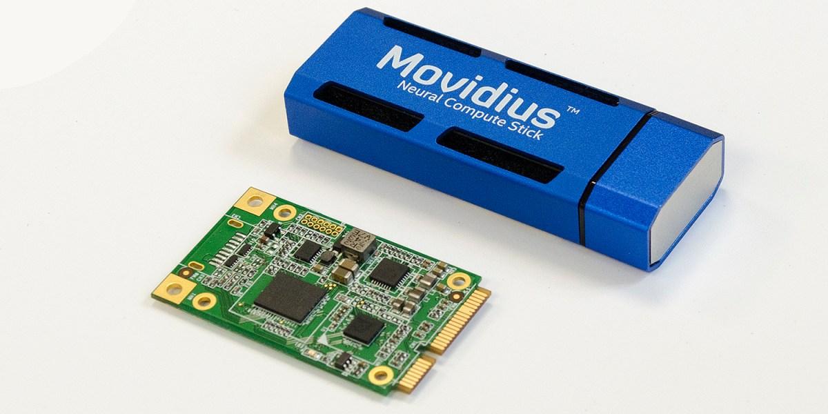 AI Core circuit board and blue Movidius Neural Compute Stick