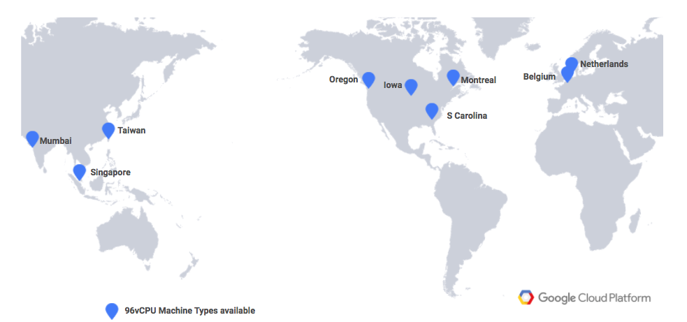 World map showing Google Cloud Platform regions with Intel Skylake 96 vCPU support
