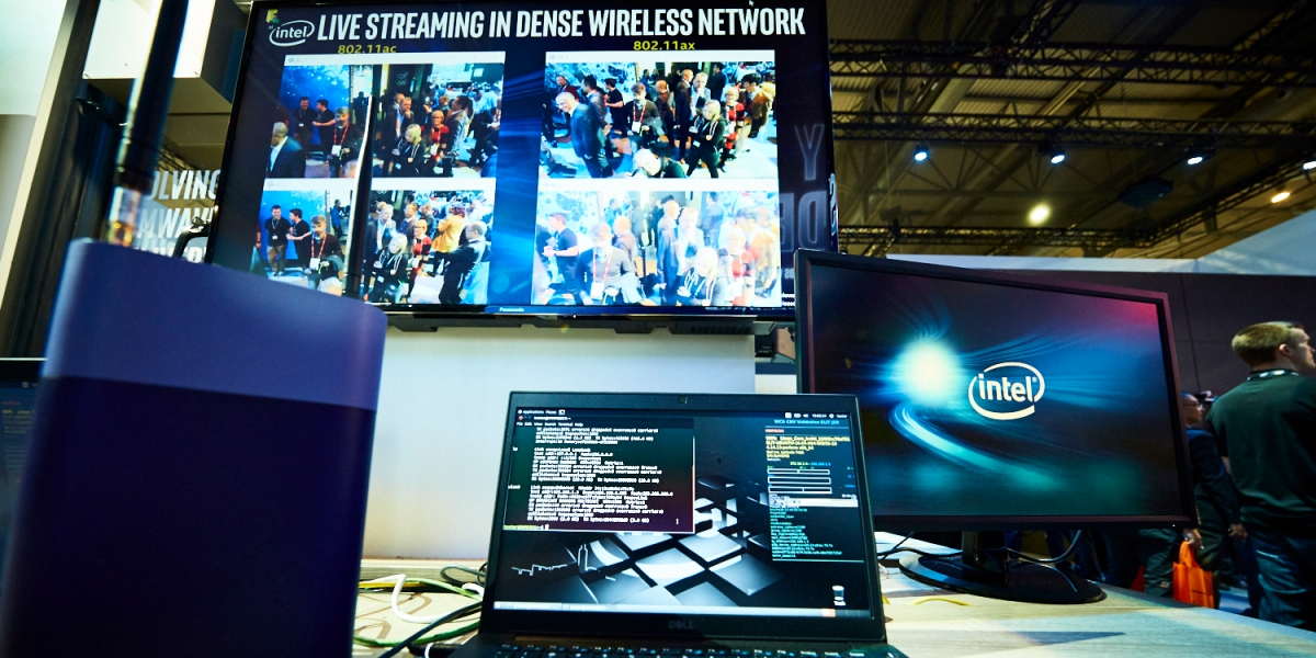 Intel's MWC booth in 2018.