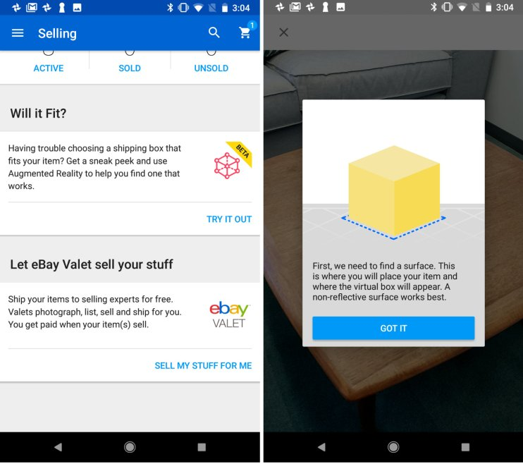 e6a10e4c4b43 eBay is continuing its augmented reality (AR) embrace with the launch of a  new feature for sellers to easily find the right box to fit their products.