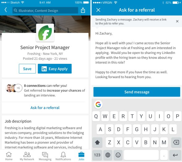 LinkedIn now lets job seekers 'ask for a referral' before