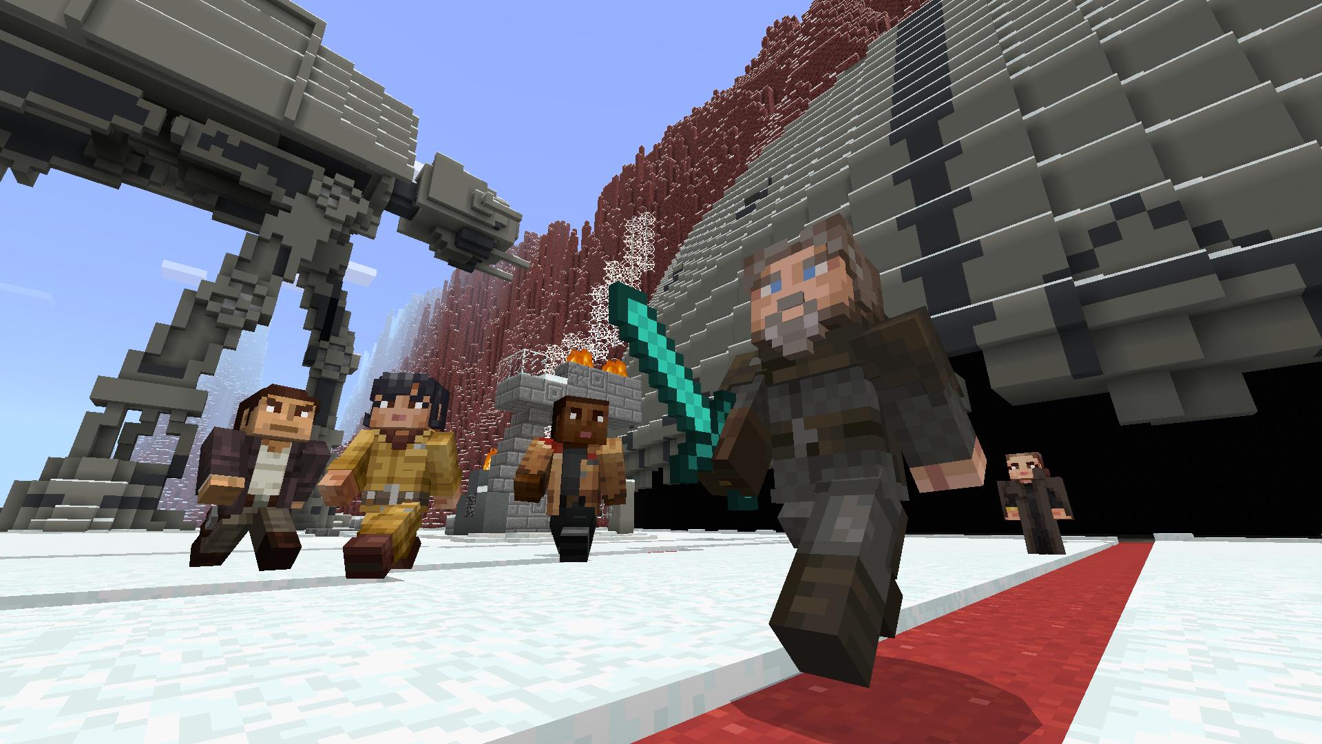 Minecraft S Star Wars Sequel Skin Pack Adds Rey Finn And Kylo Ren Venturebeat