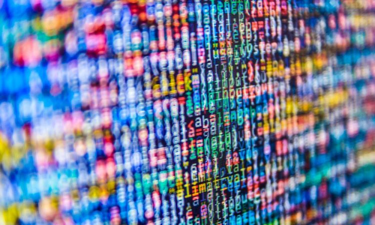 rainbow code on a screen