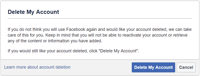 Probeat deleting facebook step by step venturebeat theres no option to actually delete your account to do that youll have to request an account deletion by navigating to facebook helpdeleteaccount ccuart Image collections