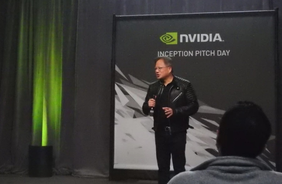 Jensen Huang, CEO of Nvidia, kicks off Inception pitch day in early March 2018.