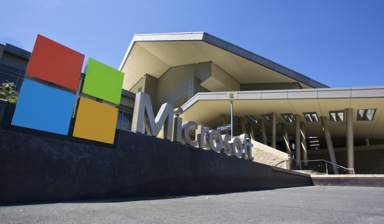 The Visitor's Center at Microsoft headquarters is pictured July 17, 2014 in Redmond, Washington.