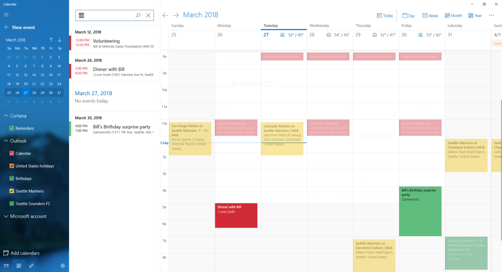 microsoft releases new windows 10 preview with calendar search and