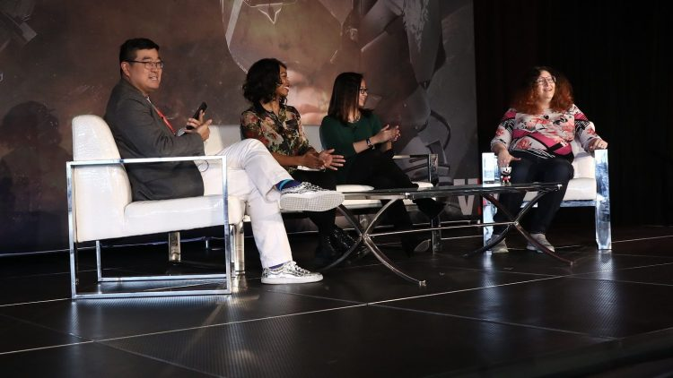 GamesBeat Summit 2018's diversity panel was moderated by The VR Fund's Tipatat Chenavasin, and included panelists Keisha Howard of Sugar Gamers, Paula Angela Escuadra of GlassLab, and Olde Sküül's Rebecca Heineman.