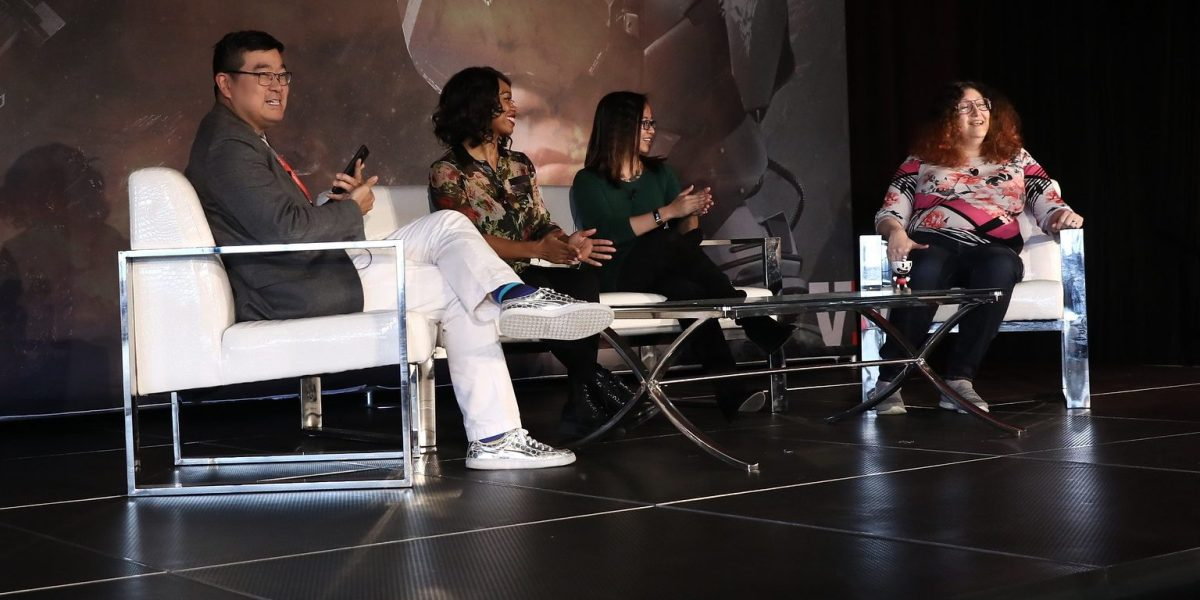 GamesBeat Summit 2018's diversity panel was moderated by The VR Fund's Tipatat Chenavasin, and included panelists Keisha Howard of Sugar Gamers, Paula Angela Escuadra of GlassLab, and Olde Sküül's Rebecca Heineman.