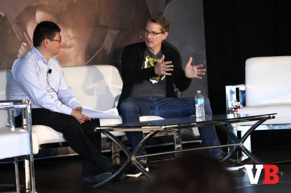 KSV eSports cofounder Kent Wakeford with Dean Takahashi at the GamesBeat Summit in 2018.