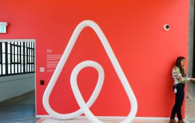 A woman talks on the phone at the Airbnb office headquarters in the SOMA district of San Francisco, California, U.S., August 2, 2016