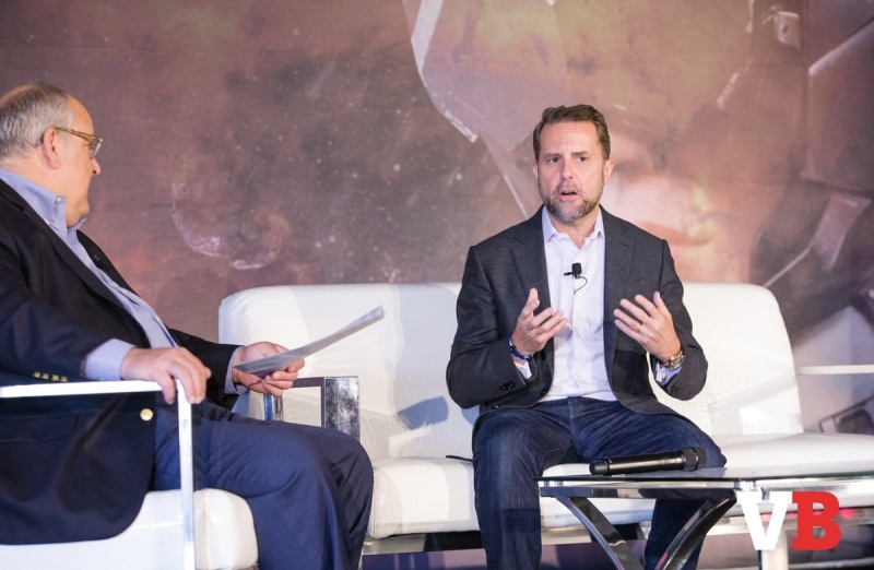 Mike Vorhaus (left) of Magid Advisors interviews former Sony game chief Andrew House.
