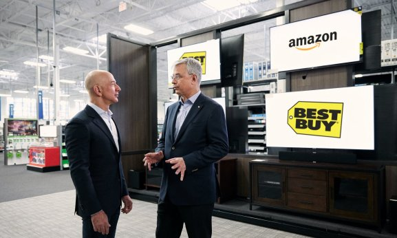 Amazon CEO Jeff Bezos with Best Buy