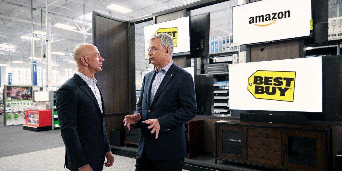 Amazon CEO Jeff Bezos with Best Buy