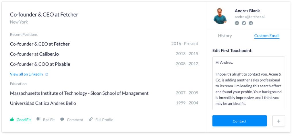 Fetcher profile: Sending message