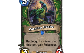 Carrion Drake is one of several new cards that might bring about Dragon Hunter in Hearthstone's Witchwood expansion.