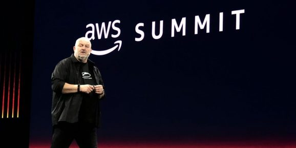Amazon CTO Werner Vogels speaks at the AWS Summit in San Francisco on April 4, 2018.