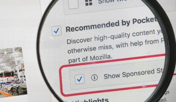 Firefox : Sponsored stories