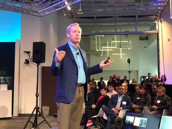 Microsoft president and chief legal officer Brad Smith speaks at a press conference in San Francisco on April 16, 2018.