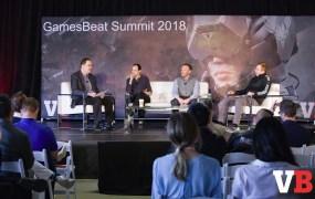 (Left to right) Investor panel at GamesBeat Summit 2018: Eric Goldberg, Managing Director at Crossover Technologies; Nabeel Hyatt, general partner at Spark Capital; Greg Milken, managing director at March Capital Partners; Gordon Rubenstein, managing partner at Raine Ventures.