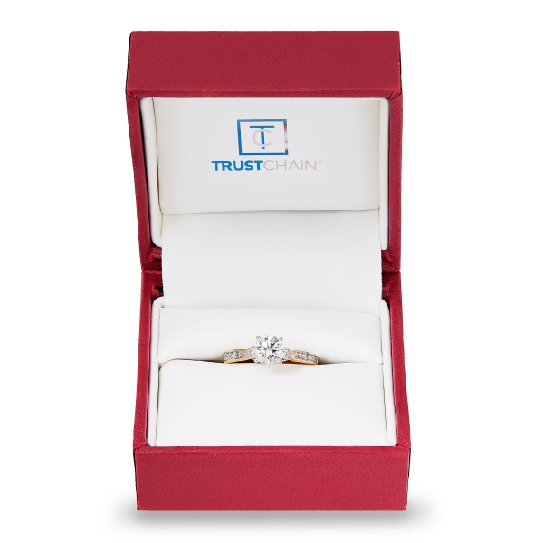 Pictured is a gold and diamond engagement ring that was initially tracked on the blockchain network and will be made accessible to consumers in stores later this year.