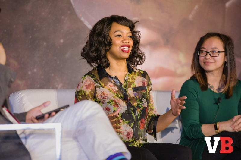 Keisha Howard and Paula Angela Escuadra speak on the diversity panel at GamesBeat Summit 2018.