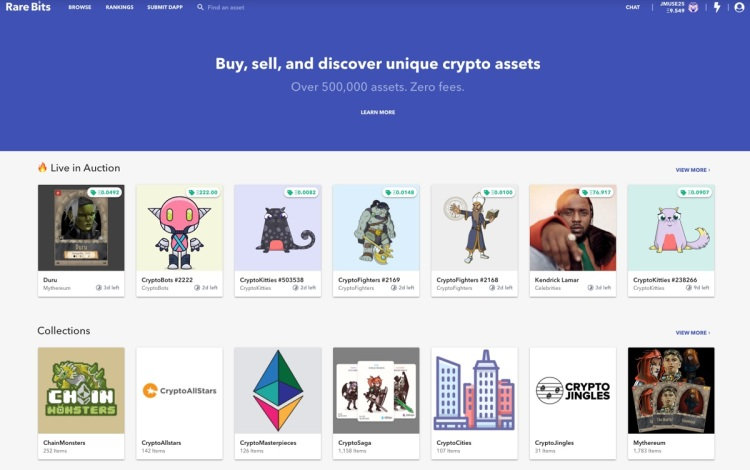 Rarebits has a platform for buying and selling cryptocurrency assets.