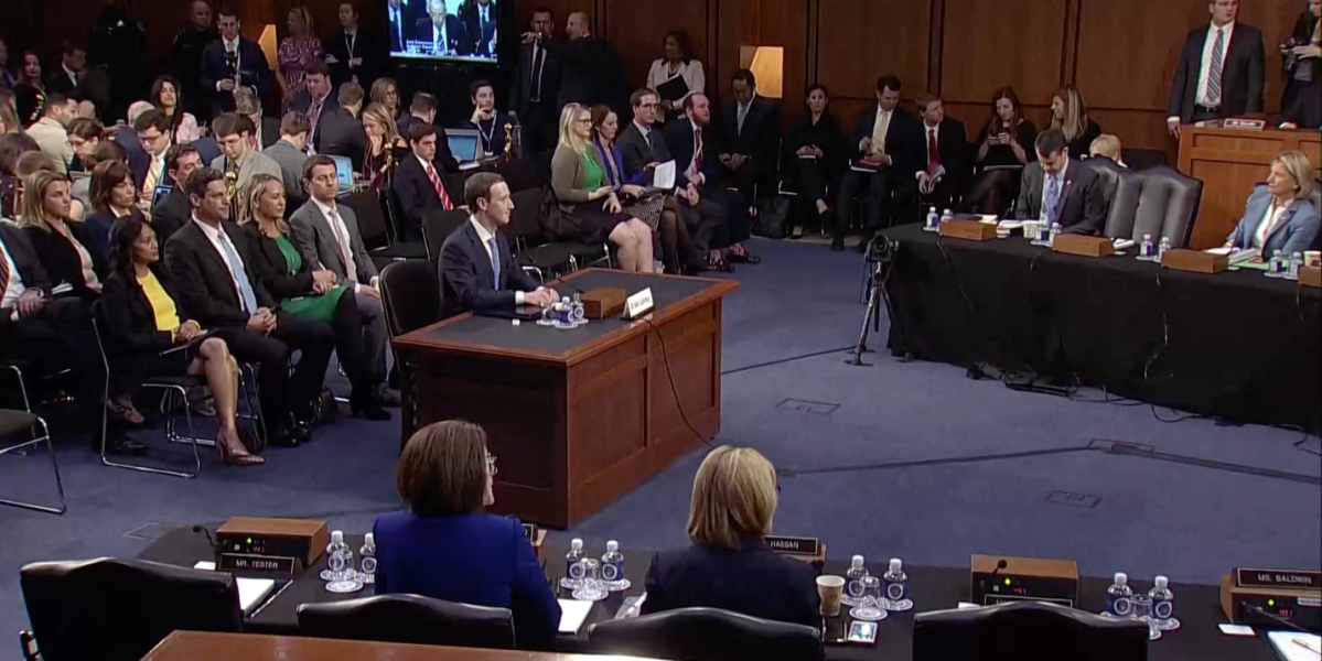 Mark Zuckerberg testifies in front of the Senate Judiciary and Commerce Committees on April 10, 2018.