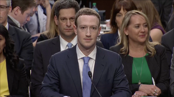 Mark Zuckerberg testifies in front of the Senate Judiciary and Commerce Committees.