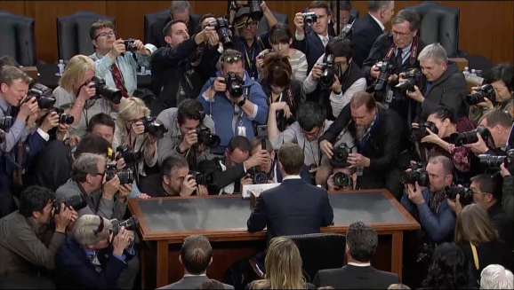 Facebook CEO Mark Zuckerberg takes his seat at a joint session of the Senate Judiciary and Commerce committees on April 10, 2018
