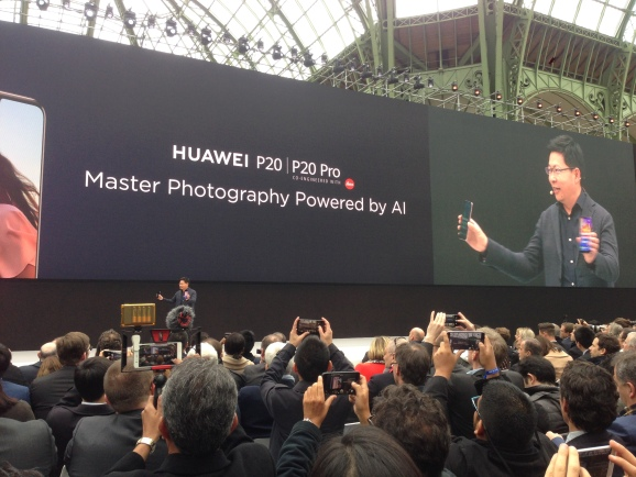 Richard Yu, the CEO of Huawei's consumer business group, speaks in Paris at the launch of the company's new flagship phones.
