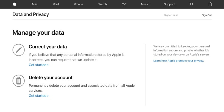 Apple's Data and Privacy page, as it looks to U.S. users.