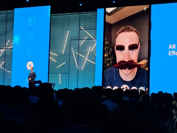 Facebook CEO Mark Zuckerberg shows AR Camera Effects Platform with mustache shenanigans at F8, Facebook's annual developer conference held May 1-2, 2018 at McEnery Convention Center in San Jose, California