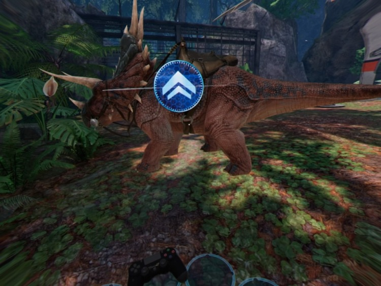 """Ark Park for PSVR allows you to ride on a dinosaur's back - when the """"mount dinosaur"""" button works."""
