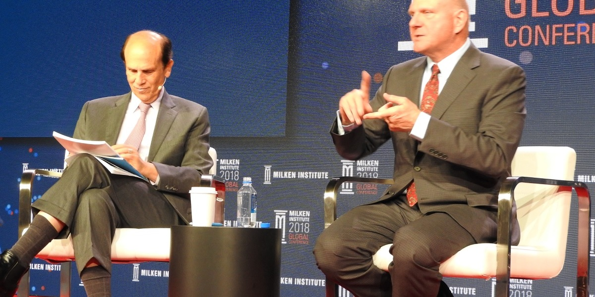 Steve Ballmer talked about life after Microsoft with Michael Milken.