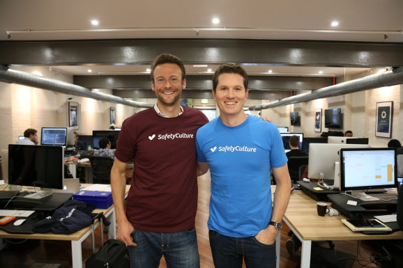 Jan Hammer (left), partner at Index Ventures, and and the blue t-shirt is the company's CEO.