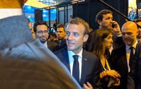 French president Emmanuel Macron arrives at the Viva Technology conference in Paris.